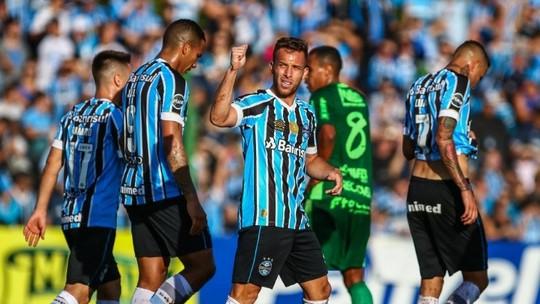 Ir para  <p><big>Fora de casa, no estádio dos Eucaliptos, em Santa Cruz do Sul, o Grêmio fez sua primeira partida válida pela semifinal do Campeonato Gaúcho, na tarde deste domingo. O Tricolor mostrou...