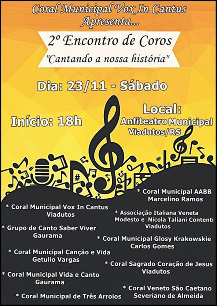 "Coral Municipal Vox In Cantus convida para o Encontro de Coros ""Cantando nossa História"""