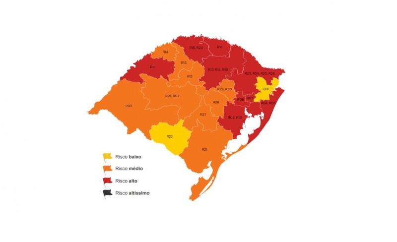 Ir para  <p><big>Al&eacute;m das quatro regi&otilde;es que j&aacute; estavam na bandeira vermelha, o mapa do Distanciamento Controlado apontou piora nos indicadores em outras cinco regi&otilde;es: Caxias do Sul, Erechim,...